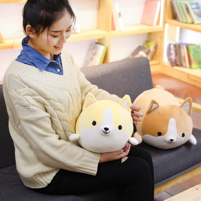 Cute Corgi Dog Plush Toy Stuffed Soft Animal 30/45/60 cm